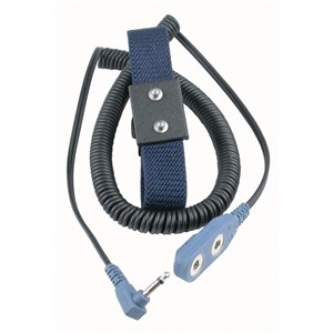 19690-WRIST STRAP, DUAL, ADJUSTABLE, 4MM SNAPS, 1.8M RT ANGLE CORD