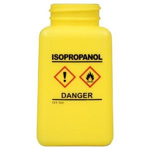35738-静電気拡散性、ボトルのみ、黄色、GHSマーク、「ISOPROPANOL」の表示、HDPE、180cc