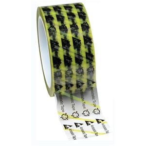 79278-テープ、WESCORP、透明、静電気防止、黄色ストライプ マーク付き、51 mm x 65.8 m、76 mm ID