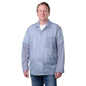 73892-スモック ジャケットタイプ グレー スナップ袖口付き Mサイズ