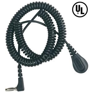 91095-コード、コイル式、バナナジャック、黒、PVC 1.83 m、L型バナナジャック、4 mm、1 MΩ