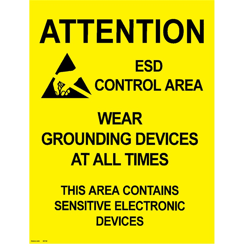 06742-POSTER, AREA WARNING, 432MM x 559MM, 5 PK