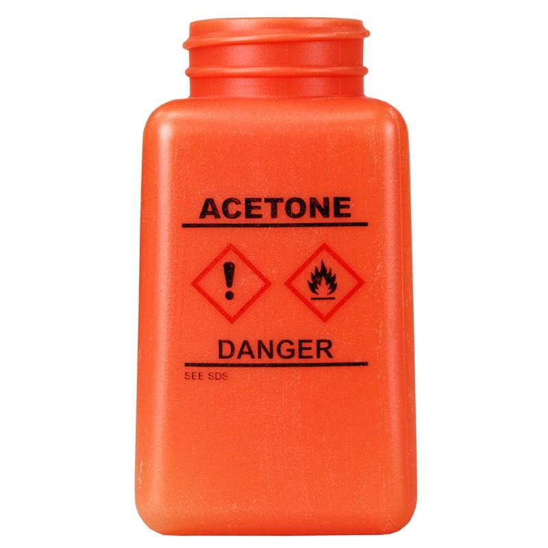 35734-静電気拡散性、ボトルのみ、オレンジ色、GHSマーク、「ACETONE」の印刷、HDPE、180cc