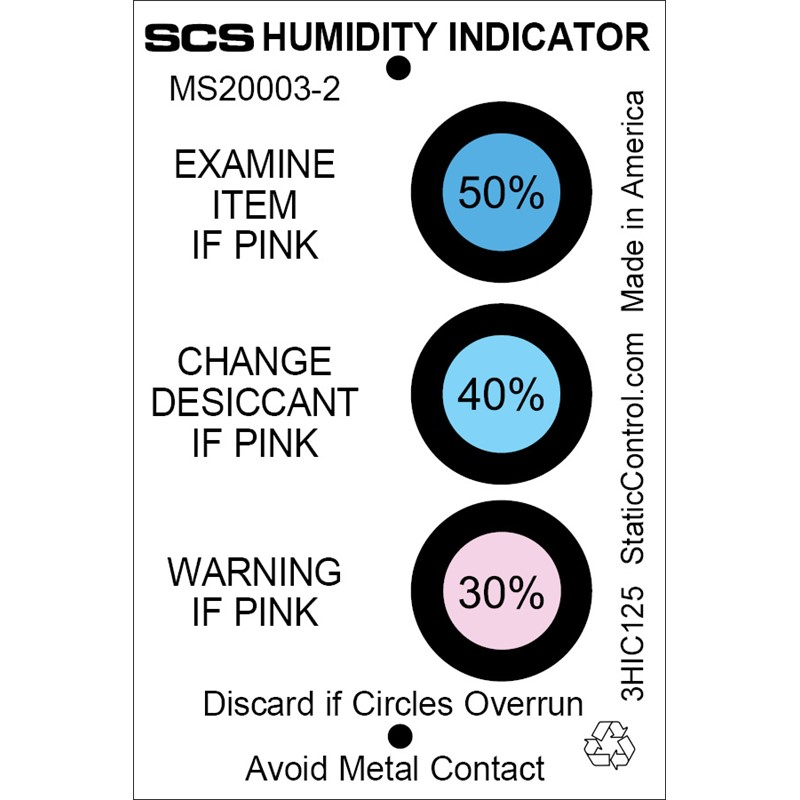 3HIC125-湿度表示カード、相対湿度30% 40% 50%、125枚入