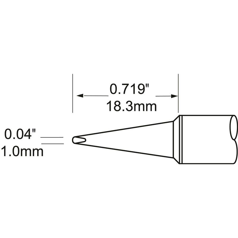 STV-CH10A-コテ先 D型 1.0mm x 18.3mm 386℃